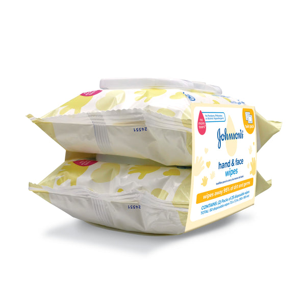 Johnson's Hand & Face Baby Cleansing Wipes, 2 Travel Packs of 25 ct