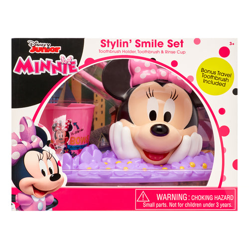 Disney Junior Minnie 3-Piece Stylin' Smile Toothbrush and Holder Set