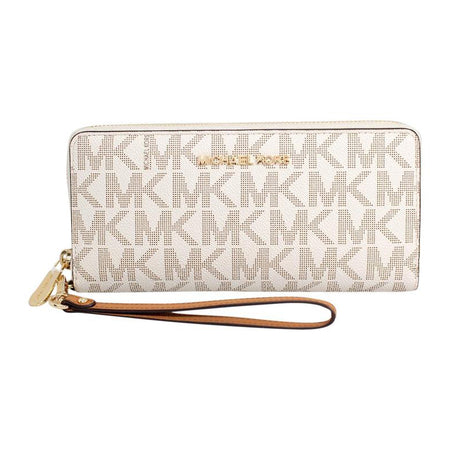 Michael Kors Jet Set Travel Large Three Quarter Zip Wallet Vanilla/Acorn (35H7GTVE3B)