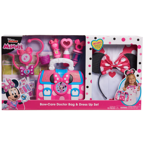 Disney Junior Minnie Mouse Bow-Care Doctor Bag and Dress Up Set, 10 piece pretend play doctor set, Ages 3 +