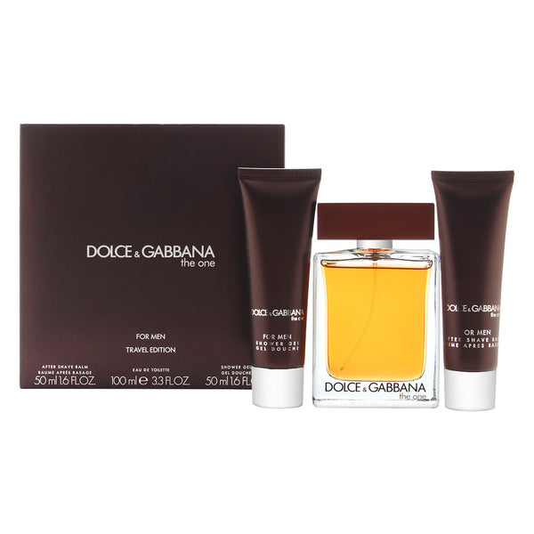 Dolce & Gabbana The One 3 Pc Set for Men (100ml Edt spray + 50ml After Shave Balm + 50ml Shower Gel