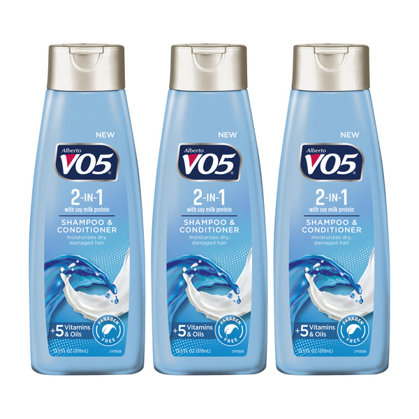 VO5 2 in 1 Moisturizing Shampoo + Conditioner Soy Milk Protein 12.5 Oz (Pack of 3)