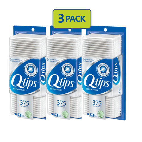 "Q-Tips Cotton Swabs 375 count ""3-PACK"""