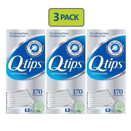 "Q -Tips Cotton Swabs 170 count ""3-PACK"""