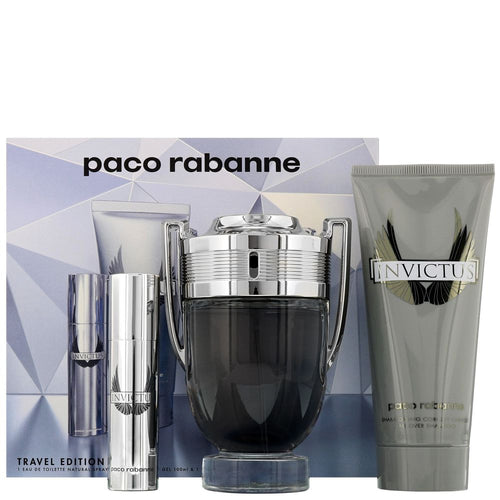 Paco Rabanne Invictus Gift Set EDT 3.4 oz & Shower Gel 3.4 oz & EDT Travel 0.34 oz Mini