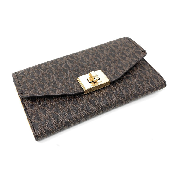 Michael Kors Cassie Large Trifold Wallet (Brown/Marigold) 35H8GT6F3B