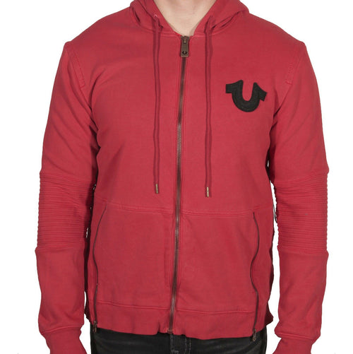 True Religion Brand Men's Moto Hoodie Red MC954UT7