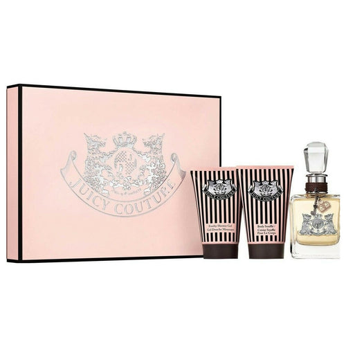 JUICY COUTURE 4 pcs Set 3.4 EDP + .33 oz EDP +4.2 oz Body Cream + .17 oz Parfum