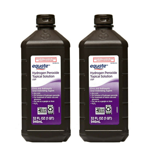 "Equate Hydrogen Peroxide Topical Solution 32 oz 946 ml ""2-PACK"""