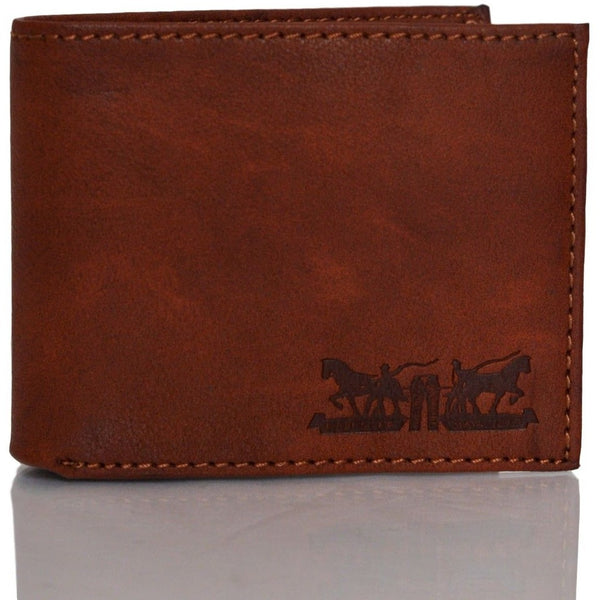 Levi's X-Capacity Slim Men's Bifold Leather Wallet Tan