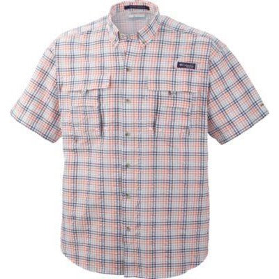 Columbia Men's PFG Super Bahama Short Sleeve Shirt  Bright Peach (SMALL)