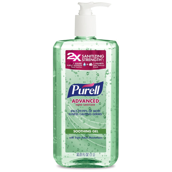 Purell Advanced Hand Sanitizer Soothing Gel, Fresh Scent, with Aloe and Vitamin E, 33.8 oz Pump