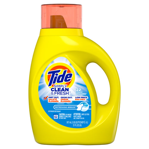 Tide Simply Refreshing Breeze, 22 Loads Liquid Laundry Detergent, 31 fl oz