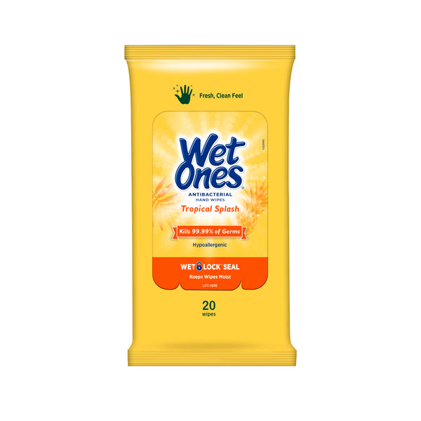 "Wet Ones Antibacterial Hand Wipes Travel Pack, Tropical Splash, 20 Ct ""2-PACK"""