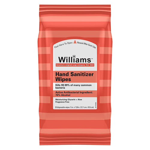 Williams Sanitizing Wipes with Moisturizing Glycerin + Aloe, Fragrance Free, 20 Wipes