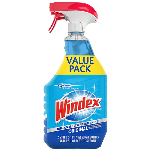 Windex Glass and Window Cleaner Spray Bottle, Original Blue, 23 fl oz - (Pack of 2)