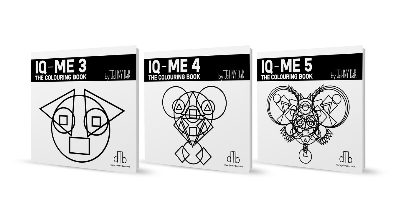 iq-me coloring books are made from triangles, squares and circles