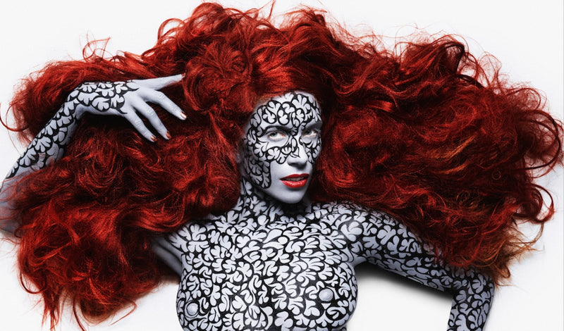 tuuli by dar, rankin, johny dar, photography, red hair, body paint, body art, london, anroy, vogue, pattern, mac, kryolan