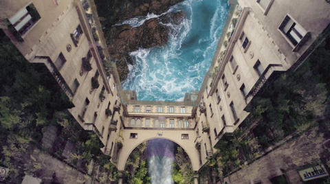 surreal scene of buildings and water