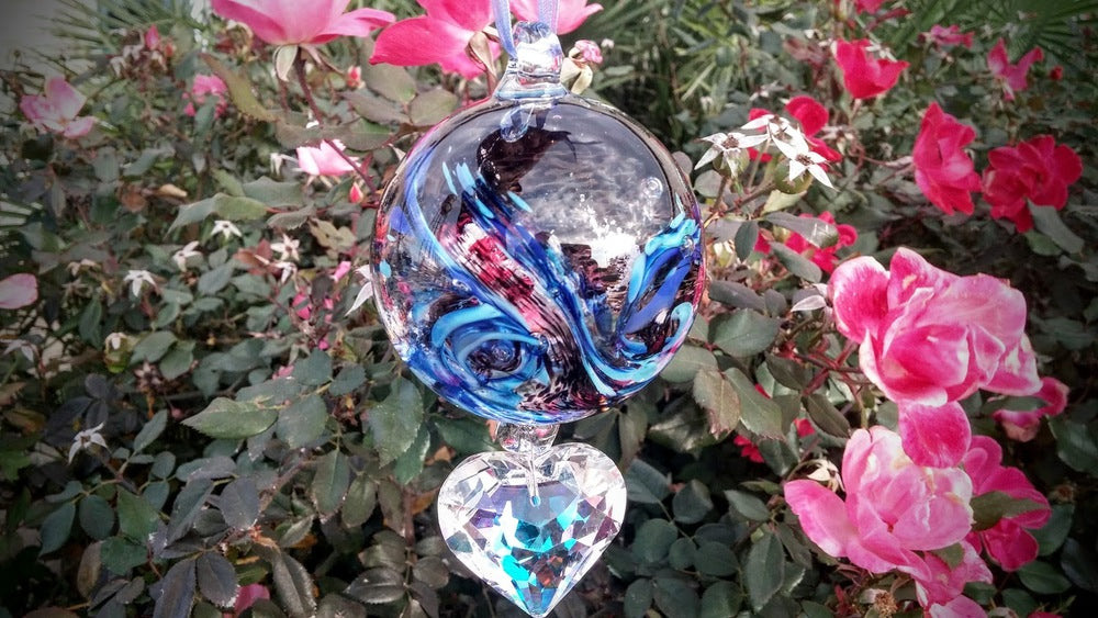 Crystal Puffed Heart with Memorial Glass Ornament for Loved Dog
