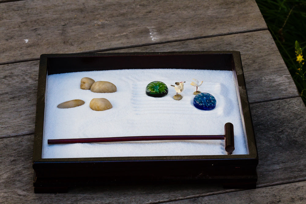 Zen Garden with Flower and Garden Stones