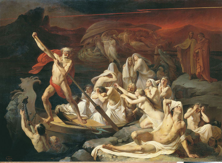 Charon crossing the river of the dead