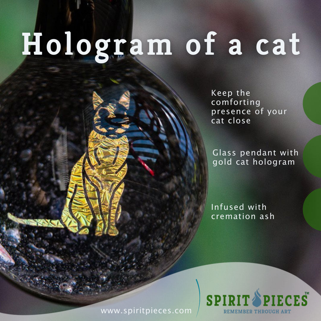 Cat Hologram Pendant with Infused Cremation Ash