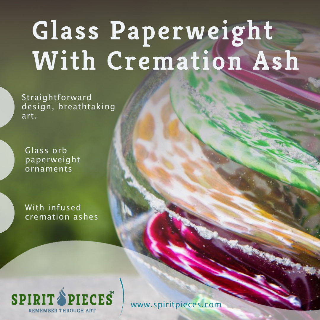 Pink Tan & Green Cat Eye Cremation Orb with Infused Cremains