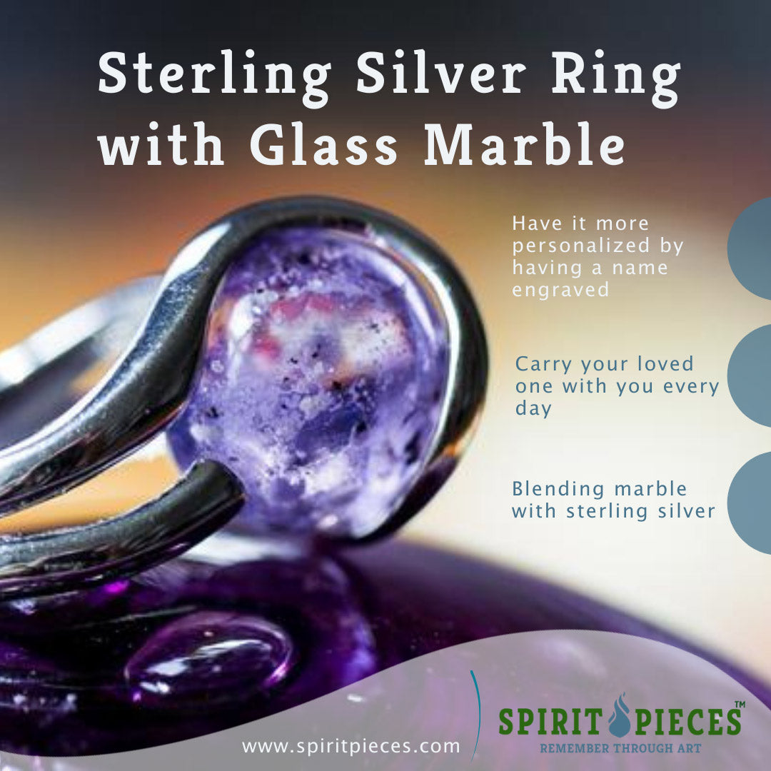 Sterling Silver Ring with 12mm Transparent Glass Marble Infused with Cremains