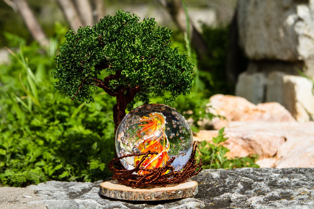 Ponderosa Tree Of Life with Burning Bush Bubble Flame Orb by Tyler - PAPERWEIGHT | $439.00, ashes in glass
