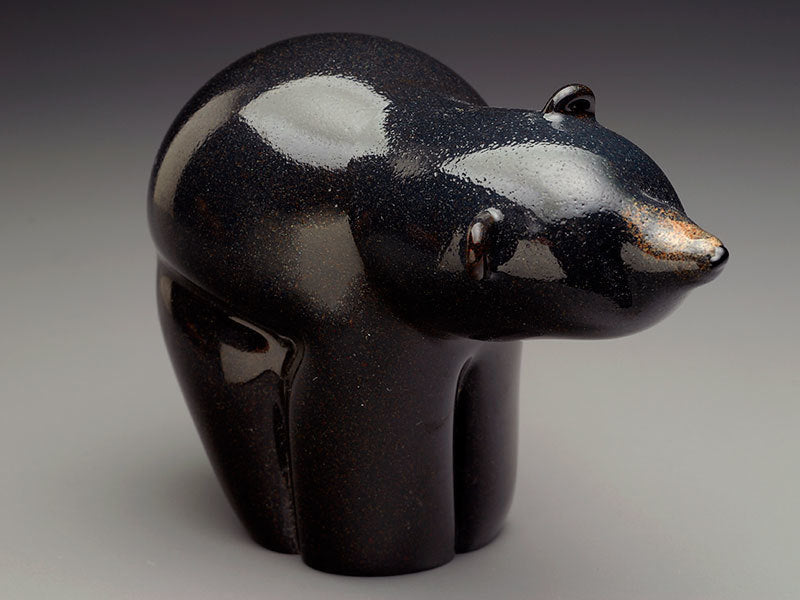 Memorial Glass Black Bear with Cremated Remains