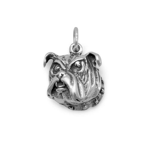 Oxidized Sterling Silver Bulldog Face Charm