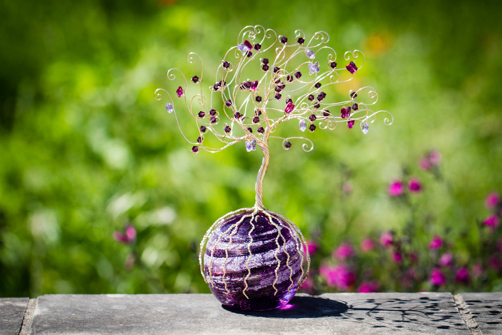 Purple Butterfly Bush of Life with Swarovski Crystals and Cremains Infused Glass Orb - PAPERWEIGHT | $379.00