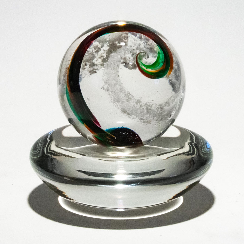 Spiral Swirl Spherical Marble with Cremains
