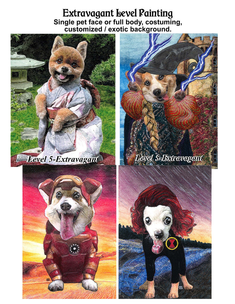 Hand Drawn and Painted Pet Portraits with Optional Cremation Ashes