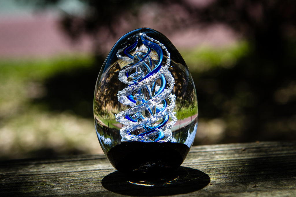 Glass Egg with Cremation Ash