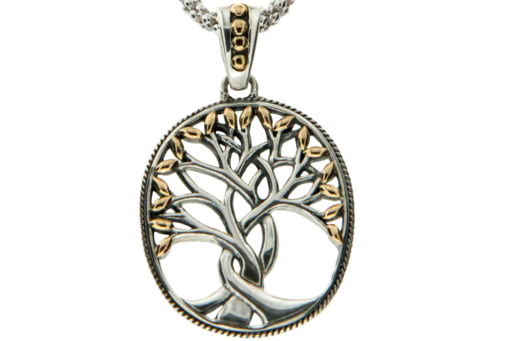 Golden Leaves Tree of Life Memorial Necklace - Cremation Jewelry | $309.00