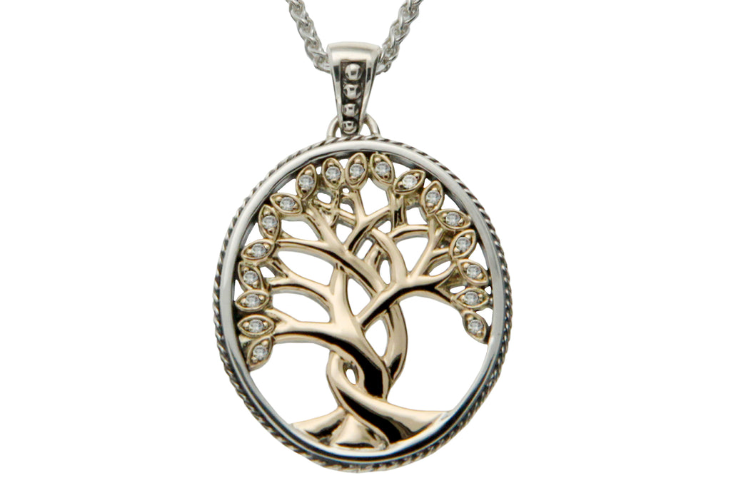 Golden Tree of Life Memorial Necklace with Diamonds