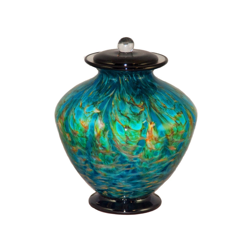 handblow glass urn for cremation ashes