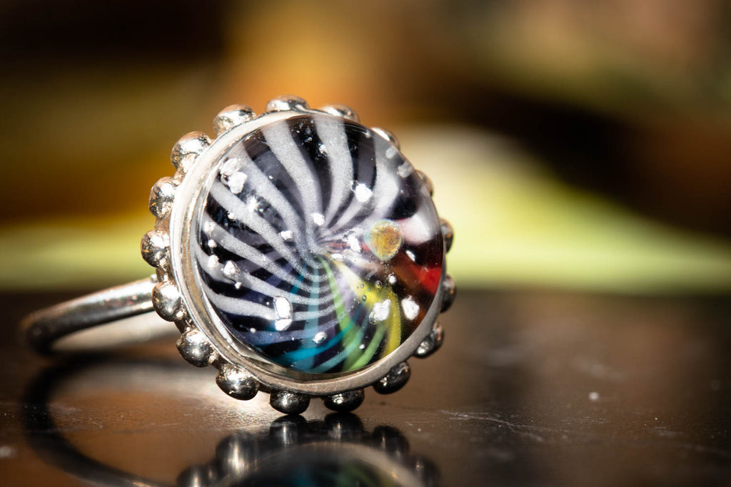 BW Color Splash Glass Ring with Cremation Ashes