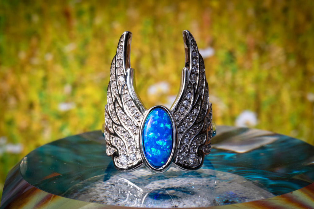 Celestial Feathers Angel Ring with Opal