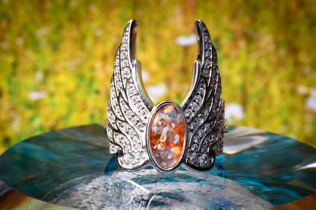 angel wing with cremains