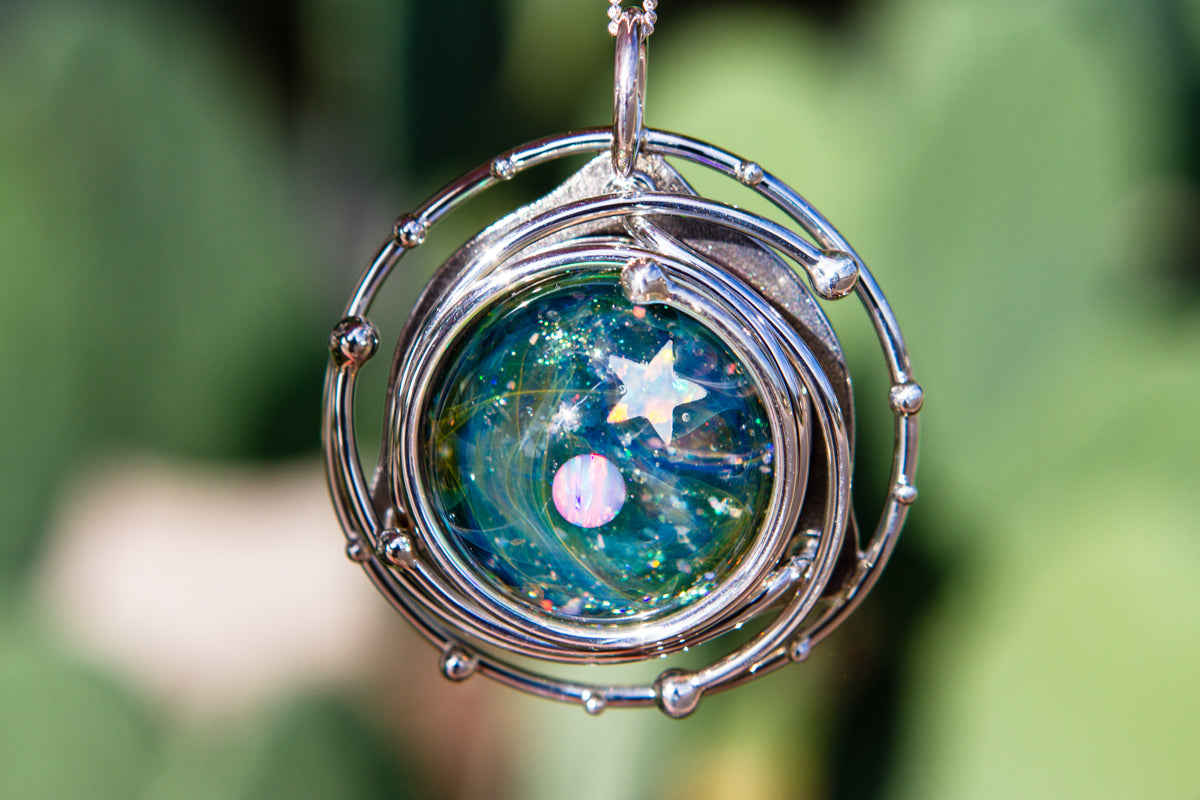 Caged Glass Galaxy Necklace With Two Opals Cremation