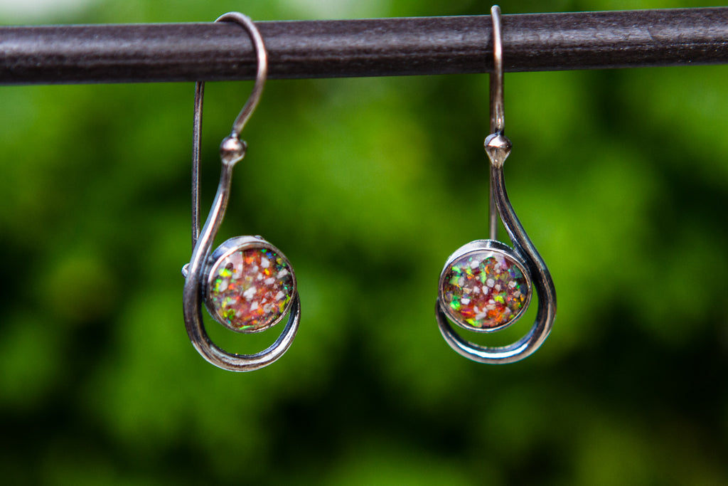 Silver and Opal Earrings