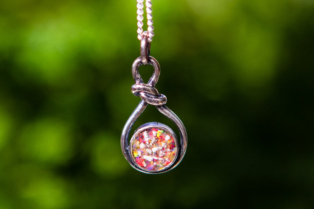 Petite Silver and Opal Looped Pendant - Cremation Jewelry | $82.00