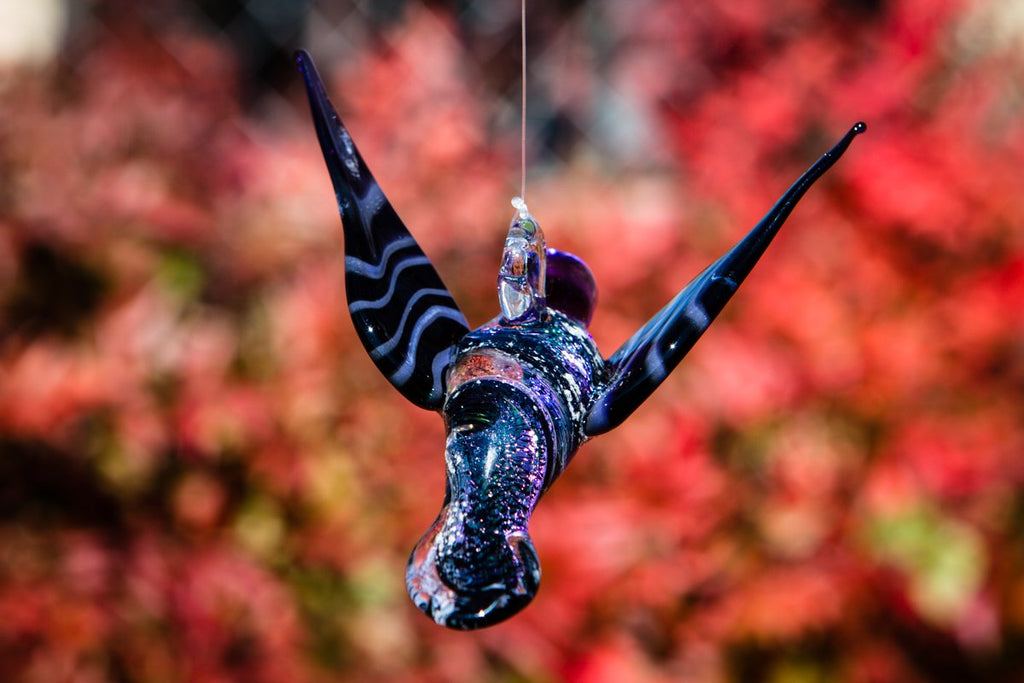 Purple Dichroic Twist Glass Hummingbird with Infused Ash - SUNCATCHER | $199.00