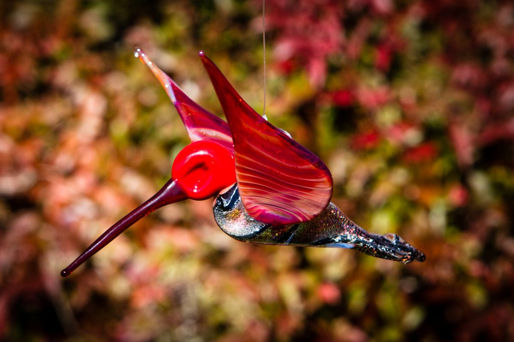 Red Dichroic Twist Glass Hummingbird with Infused Ash - SUNCATCHER | $229.00