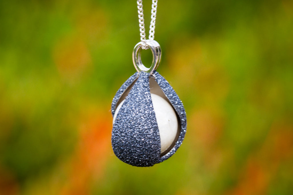 Dark Sterling Silver Glitter Drop with Cremation Ash Infused 14mm Marble