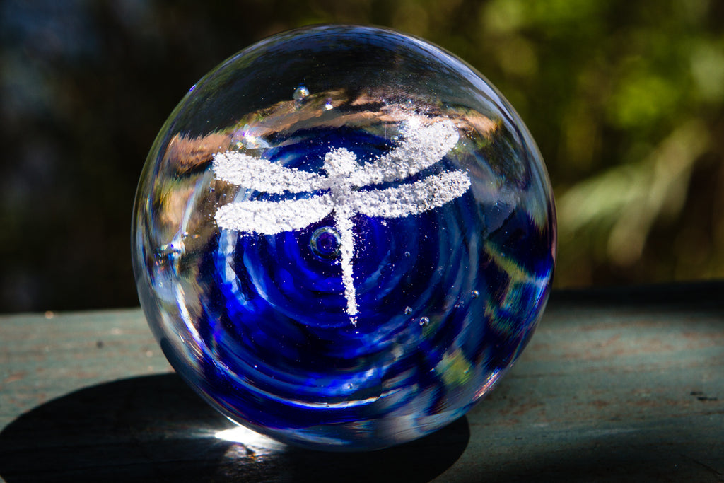 Dragonfly Snowfall Orb with Cremation Ash - PAPERWEIGHT | $144.00