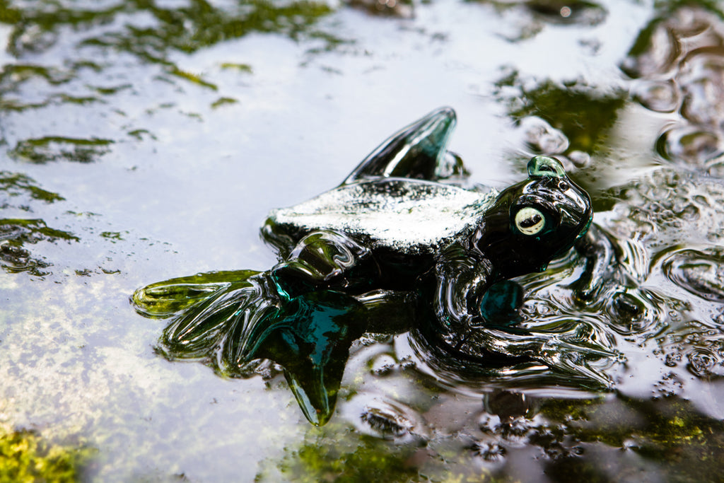 glass frog with cremation ash